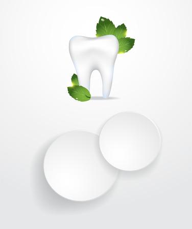 Realistic tooth. Dental care background.Peppermint leafs. Ilustração
