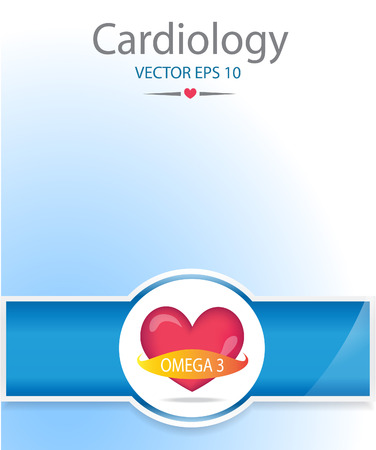omega 3: Heart with omega 3 banner.Medical background. Illustration