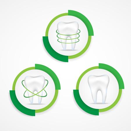 abscess: Dental protecting.Round labels. Illustration
