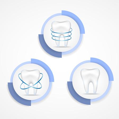 Dental protecting.Round labels. Illustration