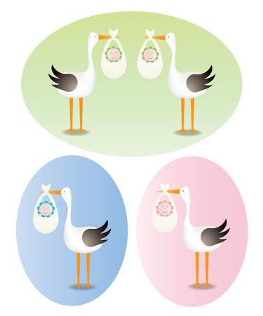 gemelos niÑo y niÑa: Entrega por un stork.Boy, niña y gemelos.