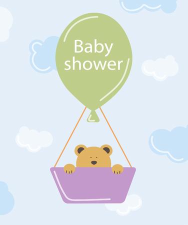 Baby shower invitation.Bear on air balloon.