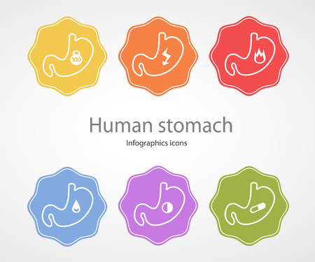 acid reflux: Human stomach. Infographics icons.EPS 10 file.