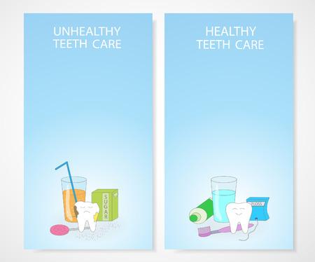 Unhealthy and healthy teeth care. Cartoon dental images. Ilustração