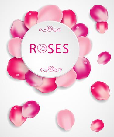 Background with pink rose petals. Illustration