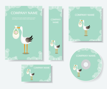 Delivery by a stork.Stationery template design. Ilustração
