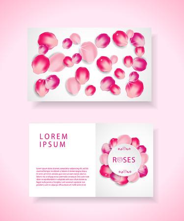 visiting: Pink rose petals visiting card. Illustration