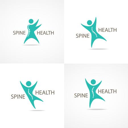 back bone: Spine health symbols set.