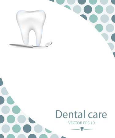 Realistic tooth. Dental care background.Blue colours.