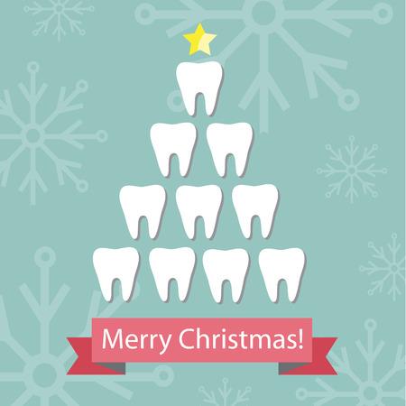 pasta de dientes: Tarjeta Dental de Navidad. Vectores