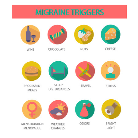 Migraine triggers.Symbols set. Imagens - 43608796