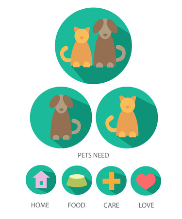Pets care plan.Pets need-home, food,care and love. Illustration