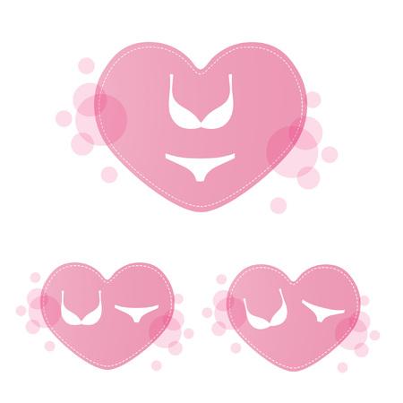 Lingerie set on pink heart backgraund. Illustration