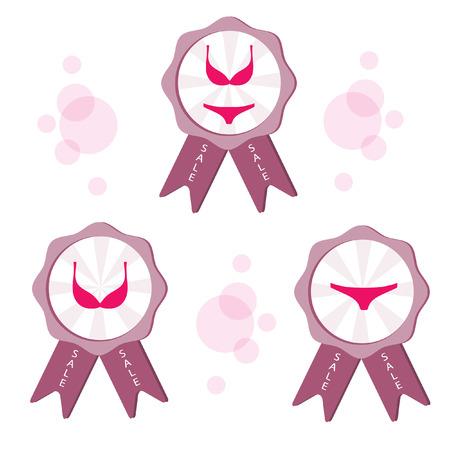 Pink lingerie set. Illustration