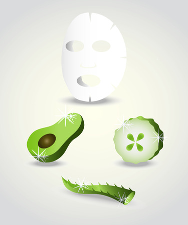 Face mask ingredients-aloe, avocado and cucumber.