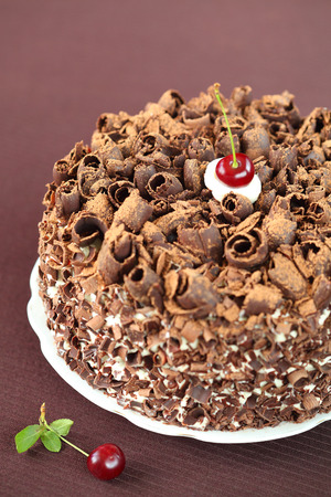 Black Forest Cake, on a brown background  photo