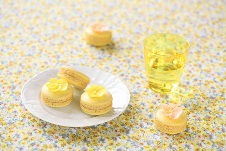 Yellow Macarons on a white plate and light yellow background  photo