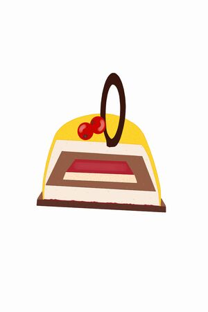Simple schematic sketch of the inside of cake, with different layers, on white background.