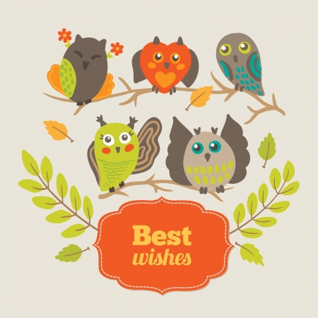Greeting card with owls Vector