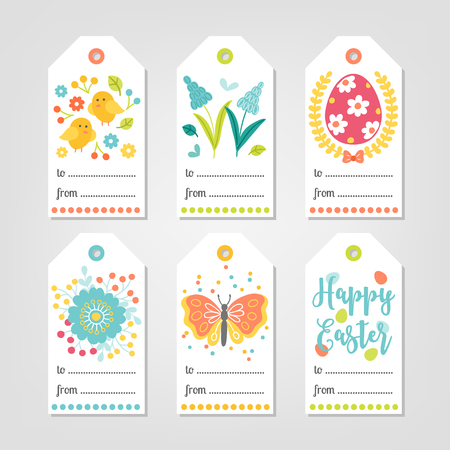 Set of Easter Gift Tags with chicken, flowers, eggs, berry, butterfly in White, Green, Yellow, Blue and Red. Perfect for holiday greetings