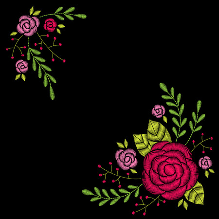 Embroidery corner floral pattern with leaves, roses and berries on black background. Vector fashion ornament