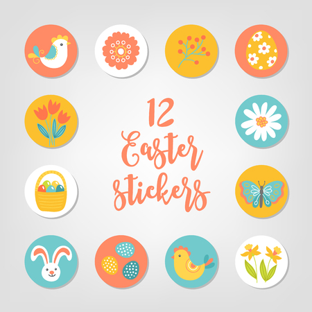 Set of Easter stickers. Bird, flower, chicken, rabbit, eggs, tulips. Perfect for scrapbooking, invitations, labels