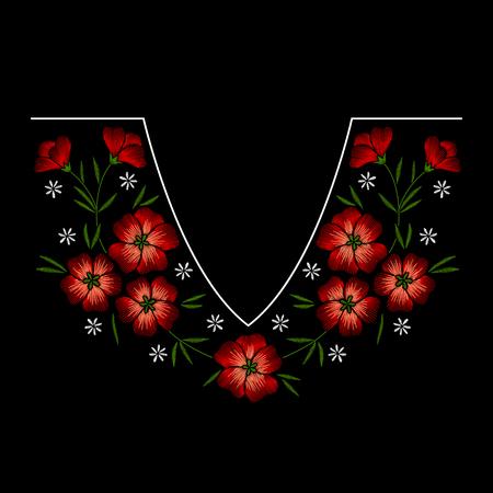 Collar bordado estampado floral con flores rojas sobre fondo negro. Adorno de moda de vector Ilustración de vector