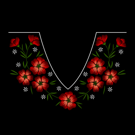 Embroidery necklace floral pattern with red flowers on black background. Vector fashion ornament Ilustracje wektorowe