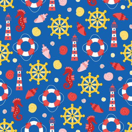 Seamless pattern with steering wheel, lighthouse, shell, lifebuoy and seahorse on blue background Stockfoto - 123717751