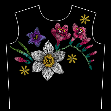Embroidery neck line pattern with narcissus, freesia, bellflower on black background. Fashion vector traditional floral design Vector Illustration