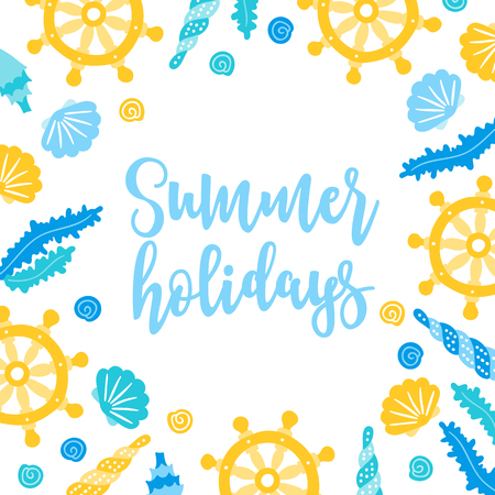 Summer greeting card shells, seaweed, boat steering wheel on white background. Frame design. Perfect for holiday invitations