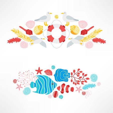 Set of ocean designs with seagull, lifebuoy, shell, starfish, seaweed and fish on white background. Perfect for holiday invitations and greeting cards