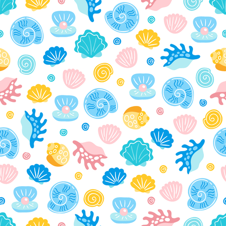 Seamless pattern with shell and pearl on white background