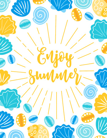 Summer greeting card with shells on white background. Frame design. Perfect for holiday invitations