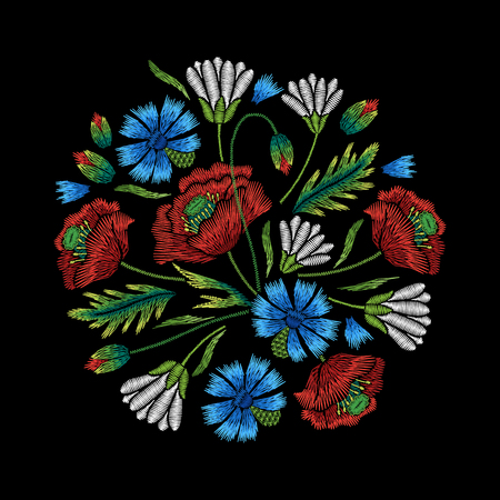 Embroidery circle floral pattern with cornflower, poppy and chamomile on black background. Vector fashion ornament 向量圖像