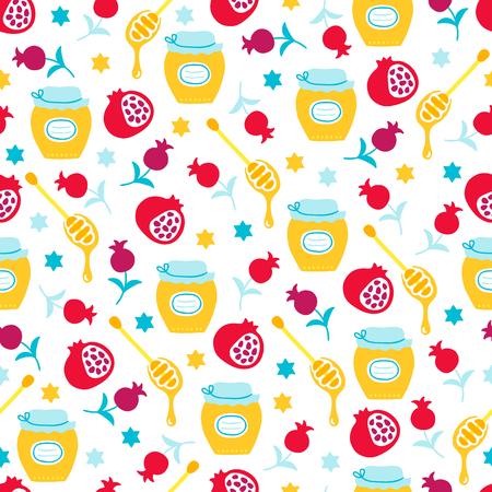 Rosh Hashanah jüdisches Neujahr nahtlose Muster mit Honig, Granatapfel, Stern auf weißem Hintergrund. Perfekt für Tapeten und Grußkarten Vektorgrafik