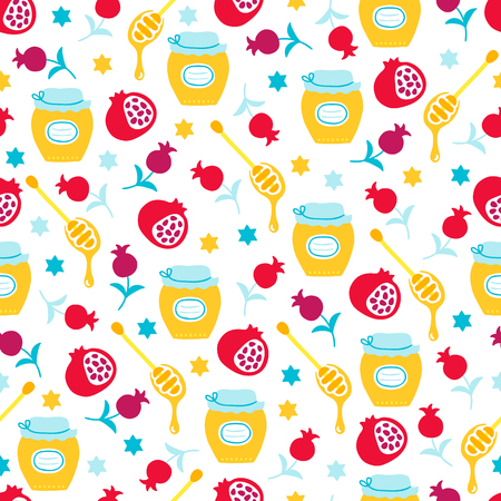 Rosh Hashanah Jewish New Year seamless pattern with honey, pomegranate, star on white background. Perfect for wallpaper and greeting cards Ilustración de vector