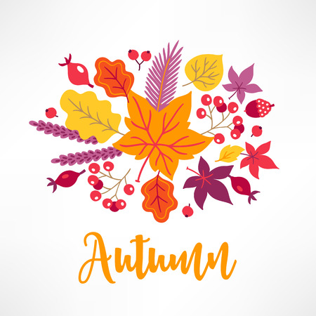 Autumn greeting card with rowan, briar, maple and oak leaves, acorn on white background. Perfect for holiday invitations
