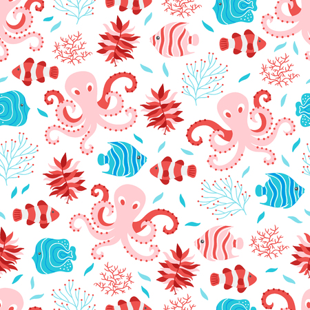 Seamless pattern with octopus, fish and seaweed on white background