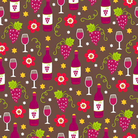 Rosh Hashanah Jewish New Year seamless pattern with wine, grape, flower on brown background. Perfect for wallpaper and greeting cards 일러스트
