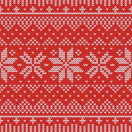 Reticolo senza giunte a maglia di Natale con strisce, stelle e triangoli. Perfetto per carta da parati, carta da regalo, sfondo della pagina web, biglietti di auguri di Capodanno