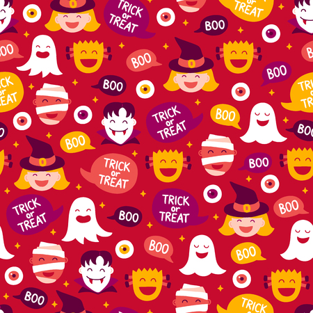 Halloween seamless pattern with ghost, mummy, witch, vampire, eye on white background. Perfect for wallpaper and greeting cards Stock Illustratie