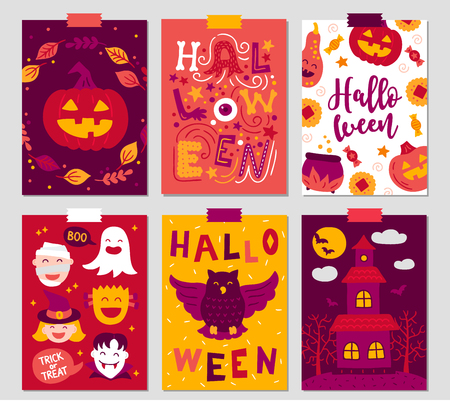 Halloween greeting cards with pumpkin, castle, mummy, owl, vampire, ghost, witch, candy. Perfect for holiday greetings, prints, placards