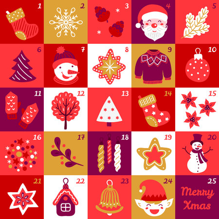 Christmas advent calendar with snowflakes, fir tree, star, sweater, elf, Santa, bell and mittens. Perfect for winter holidays Ilustração