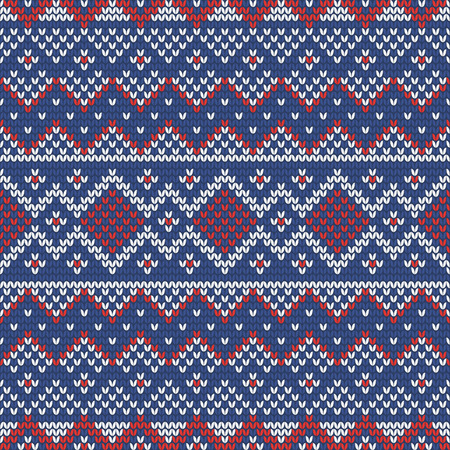 Christmas knitting seamless pattern with rhombus, stripes and triangles. Perfect for wallpaper, wrapping paper, web page background, New Year greeting cards Stock Illustratie