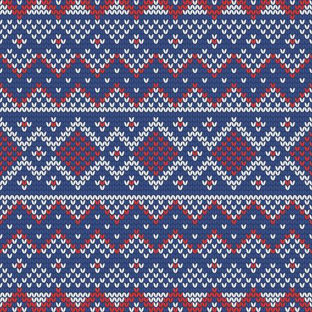 Weihnachten stricken nahtloses Muster mit Raute, Streifen und Dreiecken. Perfekt für Tapeten, Geschenkpapier, Webseitenhintergrund, Neujahrsgrußkarten Vektorgrafik