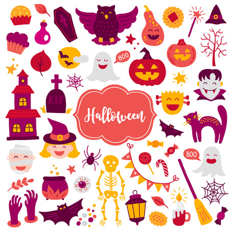 Halloween design elements with cupcake, thomb, owl, pumpkin, skeleton, scull, cat, candy, web, spider, bat, castle, star, witch, mummy, vampire, tree, moon on white background.