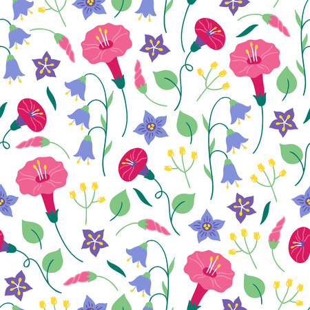 Seamless floral pattern with bellflower, bindweed and leaves on white background. Perfect for summer greeting cards and wedding invitation Ilustração