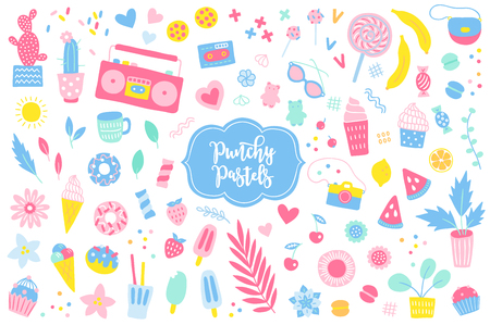 Set of summer elements in pastel colors. Cactus, ice cream, plants, strawberry, banana, donut, player, camera, leaves, hearts, coctails and more. Perfect for greeting cards and holiday invitations