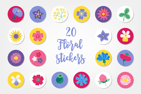 Set of twenty summer stickers with bindweed, bellflower, clover, sunflower, viola, daisy, poppy, cornflower, chamomile, field flowers